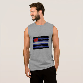PAINTED LEATER PRIDE FLAG and SYMBOL - -  Sleeveless Shirt