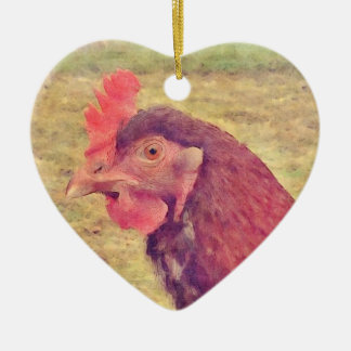 Painted Little Red Hen Ceramic Ornament