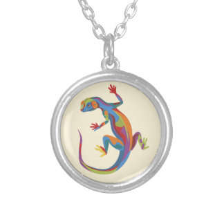 Painted Lizard Round Pendant Necklace
