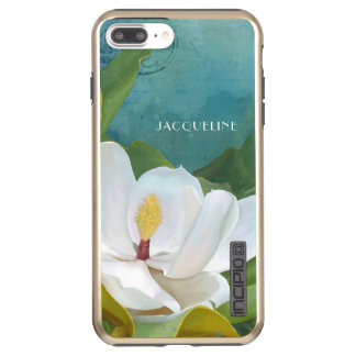 Painted Magnolia Floral Flower Blossom Modern Art Incipio DualPro Shine iPhone 8 Plus/7 Plus Case