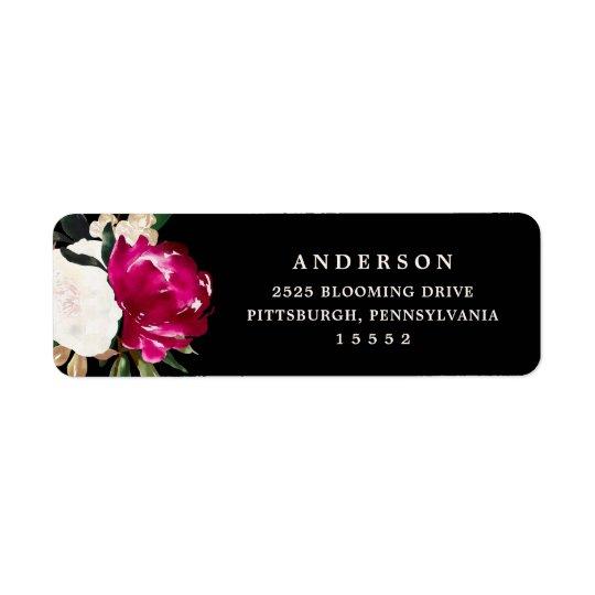 Painted Magnolia on Black   Wedding Return Address Label