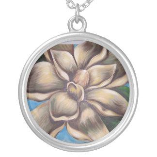 Painted Magnolia Round Pendant Necklace