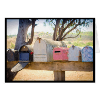 Painted Mailboxes in a Row Greeting Card