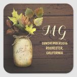 Painted mason jar and fall leaves stickers