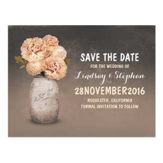 Painted mason jar & peach flowers save the date postcard