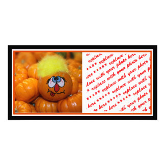 Painted Mini Pumpkin With Background Photo Cards