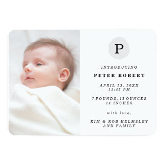 Painted Monogram Modern Photo Birth Announcement