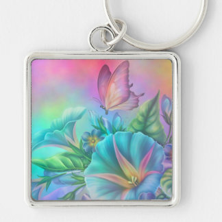 Painted Morning Glories Silver-Colored Square Key Ring