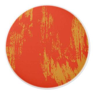 Painted - Orange Grunge Design - Drawer Knob