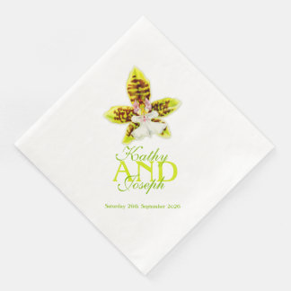 Painted orchid flower wedding named paper napkins