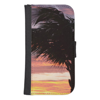 Painted Palm Sunset Samsung S4 Wallet Case