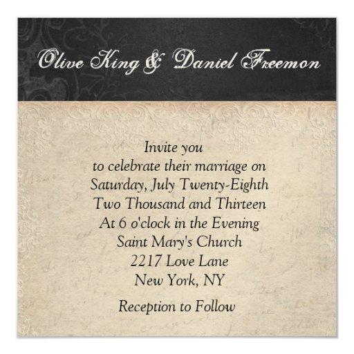 Painted Peacock Elegant Black & White Wedding Invi 13 Cm X 13 Cm Square Invitation Card