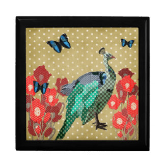 Painted Peacock Golden Stars  Art Box Large Square Gift Box