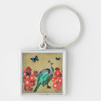 Painted Peacock & Peonies Golden Star Keychain