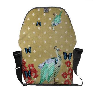 Painted Peacock & Peonies Golden Stars Messenger B Commuter Bag