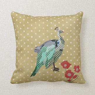 Painted Peacock & Peonies Mojo Pillow Throw Cushion