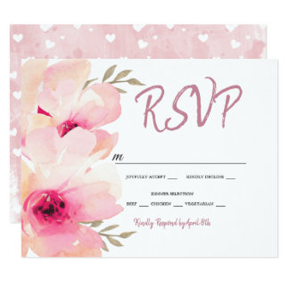 Painted Peony Pink Blush RSVP Wedding Card
