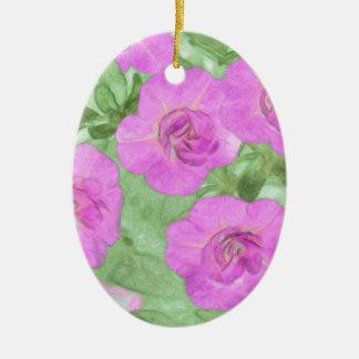 Painted Petunias Ceramic Ornament