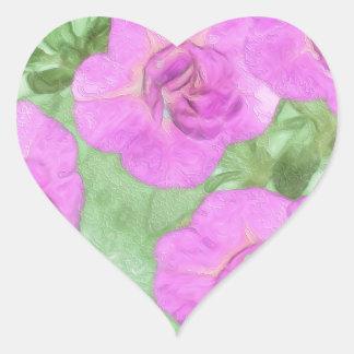 Painted Petunias Heart Sticker