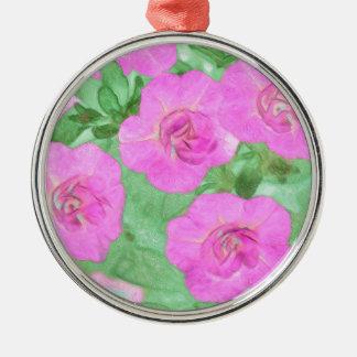 Painted Petunias Metal Ornament