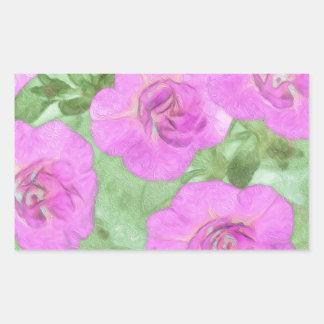 Painted Petunias Rectangular Sticker