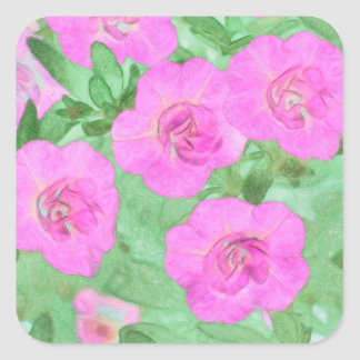 Painted Petunias Square Sticker