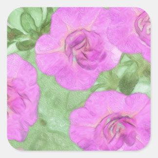 Painted Petunias Square Sticker
