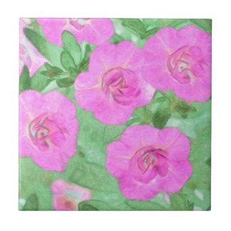 Painted Petunias Tile