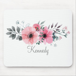 Painted Pink And Gray Floral Design | Mouse Pad