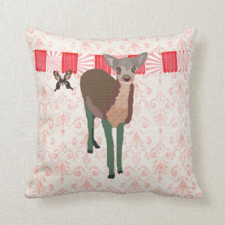 Painted Pink Fawn Mojo Pillow Throw Cushion