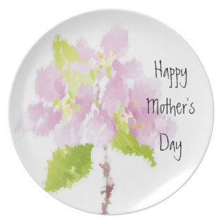 Painted Pink Flowers Mother's Day Plate