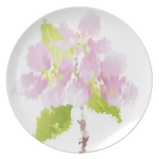 Painted Pink Flowers Plates