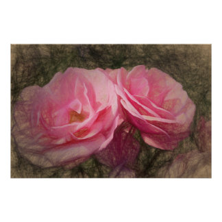Painted pink roses poster