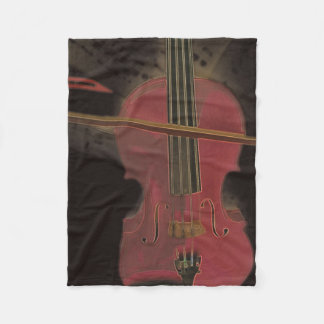 Painted Pink Violin Fleece Blanket