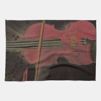 Painted Pink Violin Tea Towel