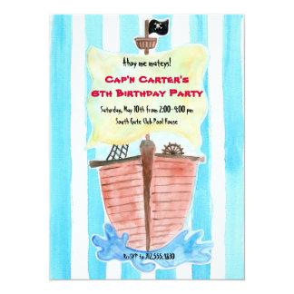 Painted Pirate Ship Birthday Invitation