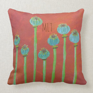 Painted Poppy Seeds And Monogram Throw Pillow