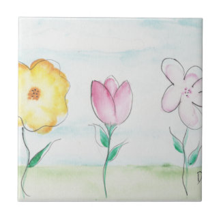 Painted Primitive Flowers Small Square Tile