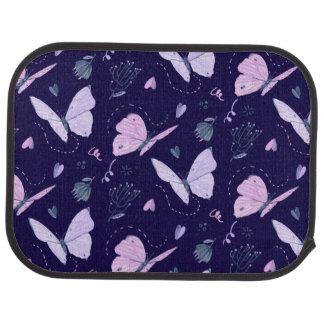 Painted purple Butterflies on night background Floor Mat