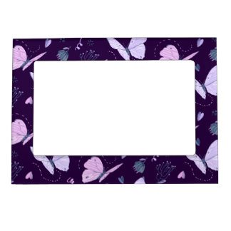 Painted purple Butterflies on night background Magnetic Frame