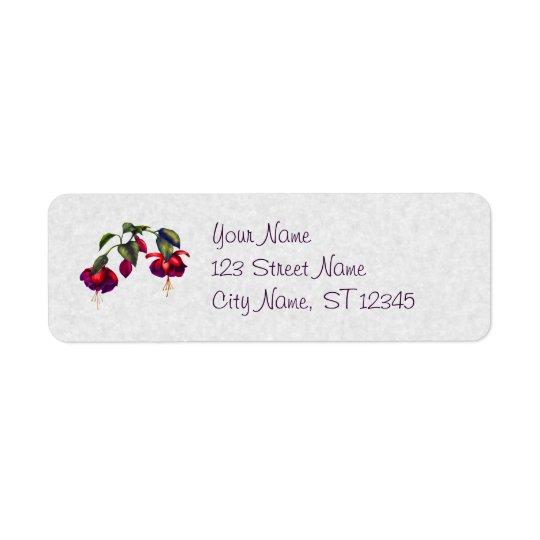 Painted Purple & Red Fuchsias Return Address Label