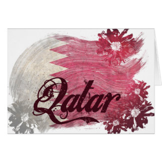 Painted Qatar Flag; Flowers Note Card
