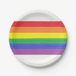 Painted Rainbow Flag 7 Inch Paper Plate