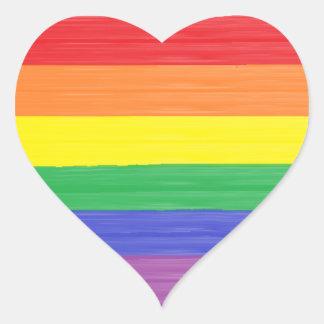 Painted Rainbow Flag Heart Sticker