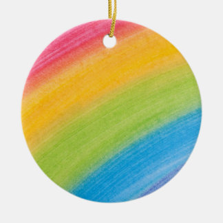 Painted Rainbow Round Ceramic Decoration