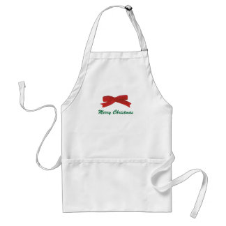 Painted Red Bow Christmas aprons