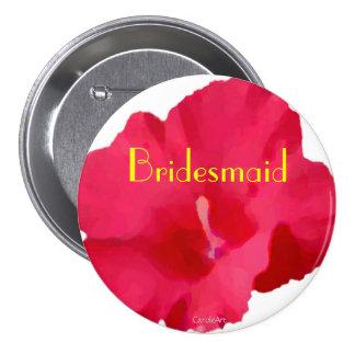 Painted Red Hibiscus 7.5 Cm Round Badge