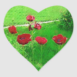 Painted Red Poppies In Bloom Heart Sticker