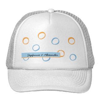 Painted Retro Circles blue Wedding Hat