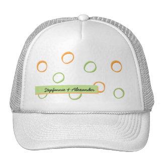 Painted Retro Circles green Wedding Hat